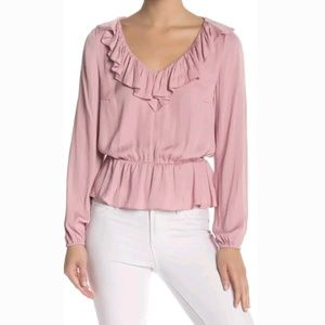 14th & Union Ruffle Woven Pink Blouse
